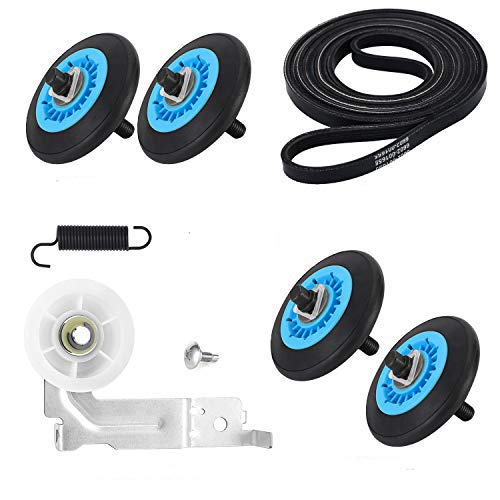 AMI PARTS Dryer Repair Kit- DC97-16782A Dryer Roller 6602-001655 Dryer Belt, DC93-00634A Dryer Idler Pulley[Upgraded Ball Bearings] & DC61-01215B Tension Spring