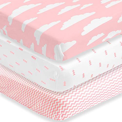 BaeBae Goods Lot de 2 draps de berceau pour garçons et filles 100 % jersey de coton super doux 150 g/m² (extrêmement doux)