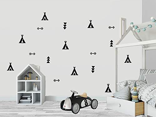 TIPIS Indianer Pfeil Sticker Set Vinyl Aufkleber Wandtattoo Kinder Decor Baby Jungen oder Mädchen Kindergarten, Kinderzimmer, Babyzimmer, Süß, Decal (Schwarz)