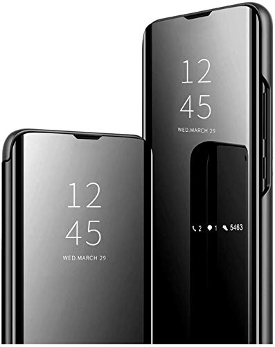Compatible con Funda Huawei P30 Lite Cover protección de 360 Grados Huawei P30 Lite New Edition Clear View Cover Protectora Ultra Fina Mirror Screen FL Negro Medium