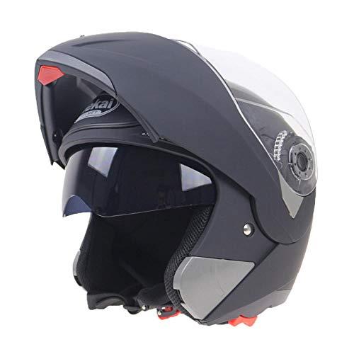 YYXT Casco De Motocicleta De Cara Completa Para Todo Terreno, Lente Anti-Ultravioleta Para Adultos, Casco De Motocicleta Plegable, Gorros De Seguridad De Motos