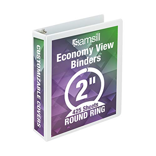 Samsill Economy 3 Ring Presentation View Binder, 2 Inch Round Ring – Holds 425 Sheets, Customizable Clear View Cover, White
