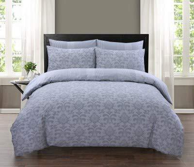 Divine Textiles 100% Pure Cotton Printed Reversible Duvet Quilt Cover Set, King - Istambul Silver