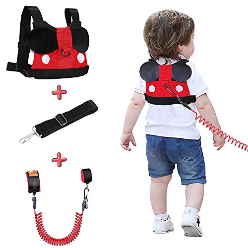 Lehoo Castle Kinder Sicherheitsleine, Kinder Leine Handgelenk, Anti-verloren Gürtel Handgelenk Link(Mickey)