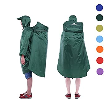 Adventure World Globotrekker Lightweight Backpack Poncho  Multiple Color Options Available   Forest Green