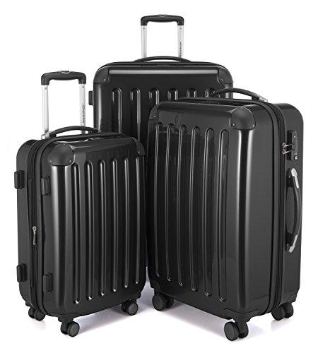 HAUPTSTADTKOFFER - Alex - 3er Koffer-Set Trolley-Set Rollkoffer Reisekoffer Erweiterbar, TSA, Doppelrollen, (S, M & L), Schwarz