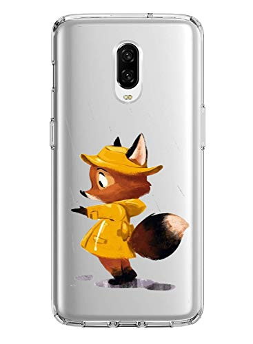 Oihxse Case Compatible with Google Pixel 3A Crystal Clear Transparent Ultra Thin Back Cover with Cute Design, Soft Silicone Shockproof Bumper Skin Shell Support Wireless Charging-Fox