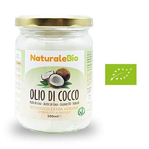 NaturaleBio, Olio di Cocco Biologico Extra Vergine, Ideale sui Capelli, sul Corpo e ad Uso Alimentare, 500 ml