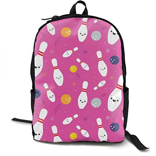 Happy Bowling Party - Pink Adult Premium Travel Backpack, Water-Resistant College School Bookbag, Sport Daypack, Outdoor Rucksack, Laptop Bag for Men&Women
