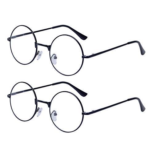 2 Stueck Damen Herren Lesebrille Rund Retro +2.5 (60-64 Jahre) Klar Linse Metall Rahmen Presbyopische Gläser Nerdbrille mit Etui