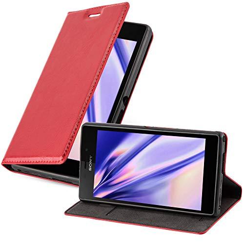 Cadorabo Hülle für Sony Xperia M2 / M2 Aqua in Apfel ROT - Handyhülle mit Magnetverschluss, Standfunktion & Kartenfach - Hülle Cover Schutzhülle Etui Tasche Book Klapp Style