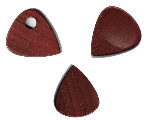 Púas de madera para guitarra acústica, púas de bajo eléctrico para tocar guitarra, ukelele, bajo, banjo y collar colgante de regalo (juego, Padauk)