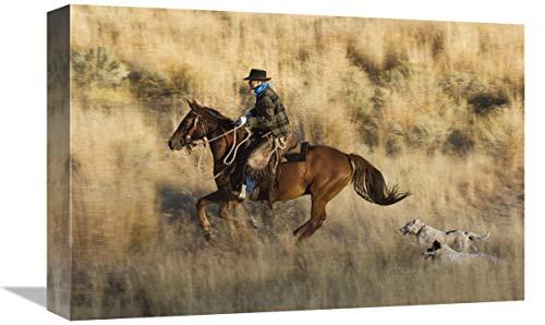 Global Gallery Caballo de Vaquero, seguido por Dos Perros, Oregon, Arte en Lienzo, 45,7 x 30,5 cm