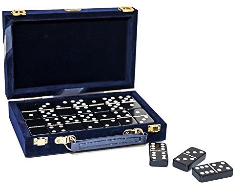 Fashion Avenue Designer Double Six Black Professional Jumbo Size Tournament Dominoes Set with Spinners