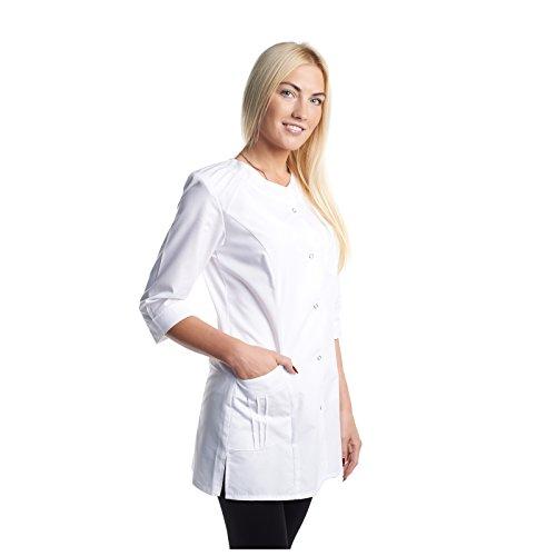 Arztkittel Weiß Damen -7 Weisser Laborkittel Größe (XS -3XL) - Labormantel Perfekt Als Chemie, Labor, Kosmetik, Berufsbekleidung Kittel - Am Besten Für Ärzte, Krankenschwester, Arzthelferin.