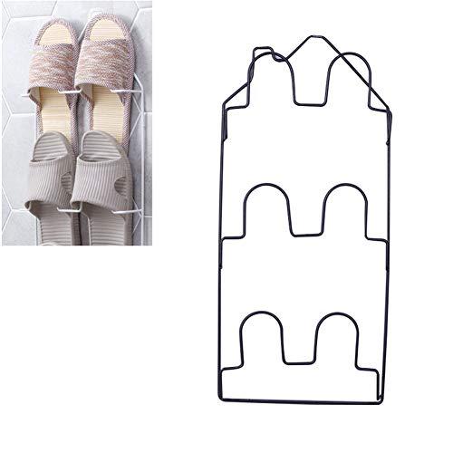 Anabei Zapatero de pared para baño, zapatillas, multicapa, tridimensional, zapatero en pared, color negro