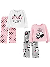 Simple Joys by Carter's 4-Piece Pajama Set (Poly Top & Fleece Bottom) Conjunto de Pijama, Panda/Lunares, 5 años, Pack de 4