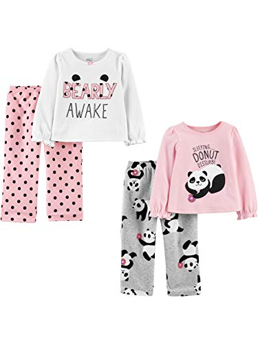 Simple Joys by Carter's 4-Piece Pajama Set (Poly Top & Fleece Bottom) Conjunto de Pijama, Panda/Dots, 4 años, Pack de 4