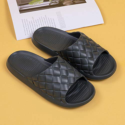 XZDNYDHGX Women And Men'S Anti-Slip Slip-On Slippers,Home Weave Slippers Summer Indoor Floor Non-slip,Couple Women and Men Hotel Bathroom Bath Sandal green UK 7.5-8.5