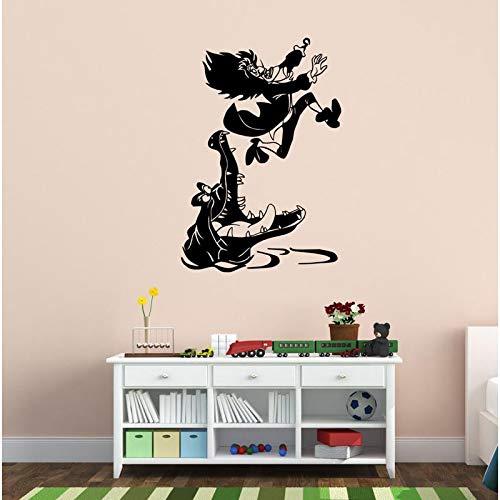 ASFGA Kapitän mit Krokodil Comic Wandaufkleber Vinyl Wandtattoo Kinderzimmer Kunst Wandaufkleber Junge Mädchen Schlafzimmer Dekor 42 * 61cm
