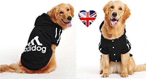 Knöpft Adidog, das Hundeshirt, Größe: (5 XL, bis, 8 XL) & Farben: (Schwarz & Rot) (Schwarz, 8 XL)