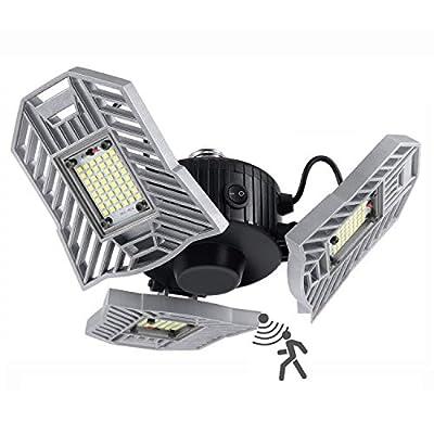 LED Garage Lights, 60W 6000LM Motion Activated LED Garage Ceiling Light Bulbs, Adjustable 3 Three Leaf Garage Lighting Fixtures Ceiling Led with Motion Sensor