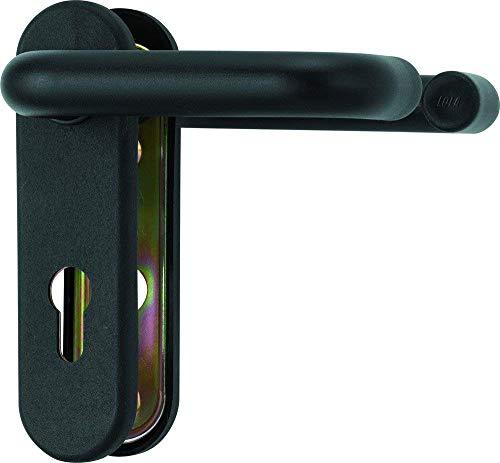 Beschlag für Feuerschutztüren Farbe Tiefschwarz matt Hoppe ABUS BKS (Türdrücker-Garnitur rund)
