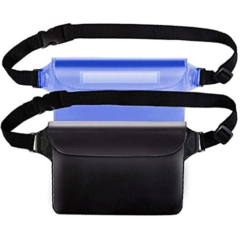 VusiElag Pantalla De Bolsa De Bolsa Impermeable Touchable con Correa De Cintura Ajustable para Nadar Buceo Pesca Playa Black Blue 2pcs