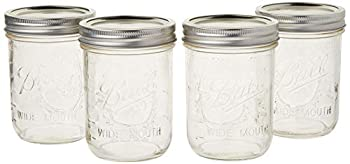 Ball Mason Jar Pint Wide Mouth Clear Glass W/Lids and Bands 16-Ounces  Set of 4