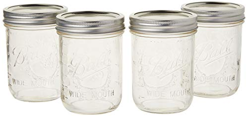 Pint Wide Mouth Clear Glass (16 oz) (Set of 4)