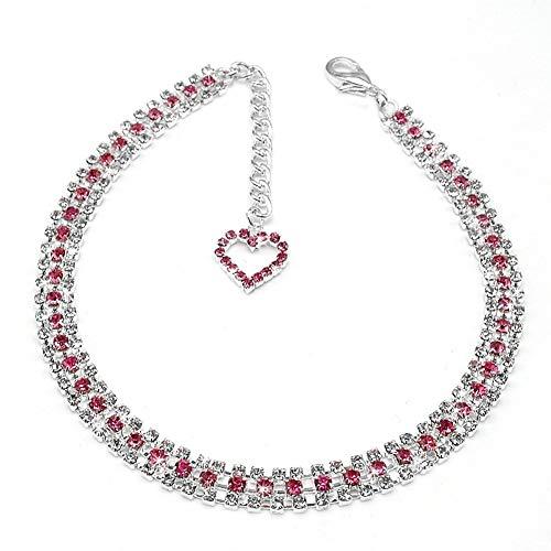 Strass Hundezubehör Halsband For Kleine Hunde Chihuhua Yorkshire Terrier Bling Diamant Halskette Welpen Katze Halsbänder Strong (Color : Pink, Size : Free Size)