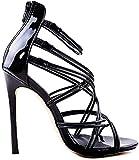Minetom Femme Sandales Chaussures Plage Soirée De La Mariée Haut Talon Sandals Partie Sexy Creux Élégant Été Open Toe High Heels Noir 42 EU
