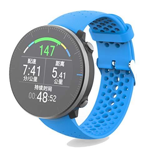 CUCUDAI Pulseira unissex de silicone macio pulseira esportiva para relógio inteligente Polar Vantage M acessórios de substituição - azul
