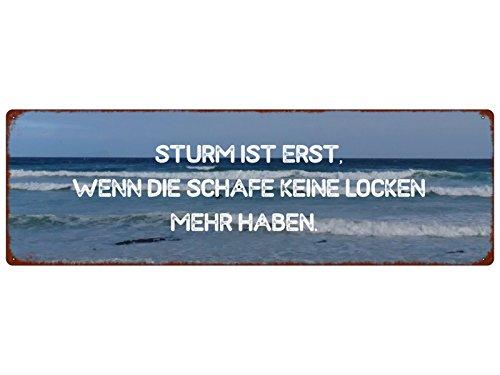 Interluxe METALLSCHILD Blechschild Sturm IST ERST WENN DIE Schafe Spruch Shabby Ostsee