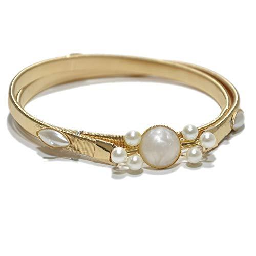 LIBILAA Damenmode Kristall dekorative Kette Gürtel Metallfeder Taille Kette (Farbe : White)