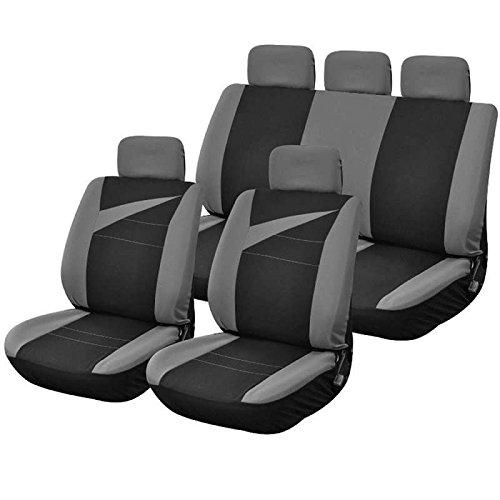 Housse siège de voiture BOLT bi couleur gris et bleu compatible airbags 9 pieces