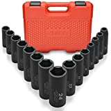 Neiko 02474A 1/2' Drive Deep Impact Socket Set, 15 Piece | 6 Point Metric Sizes (10-24 mm) | Cr-V Steel