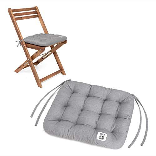 HAVE A SEAT Luxury | Sitzkissen 40 x 35 cm (2 St.) - bequemes Sitzpolster für Klappstühle - waschbar bis 95° C, Trockner geeignet - Made in Germany (2er Set - 40x35 cm, Hellgrau)