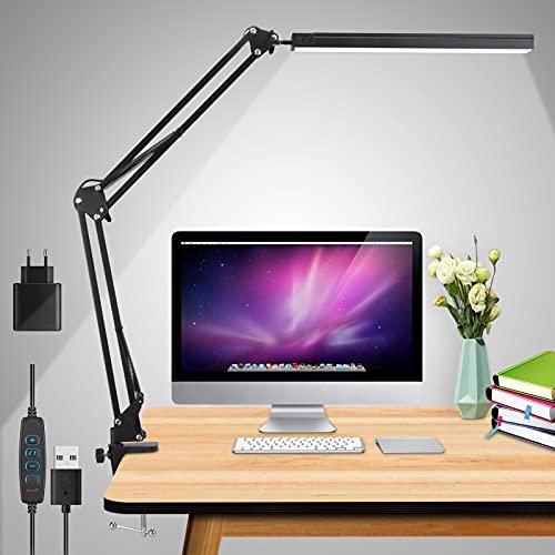 LED Schreibtischlampe,15W Architektenlampe,Verstellbarem Arm Faltbar,3 Beleuchtungsmodi mit 10 Helligkeitsstufen Tageslichtlampe, USB-Kabel mit Stecker,Augenschutz,Geeignet für Büro, Lesen,Studieren