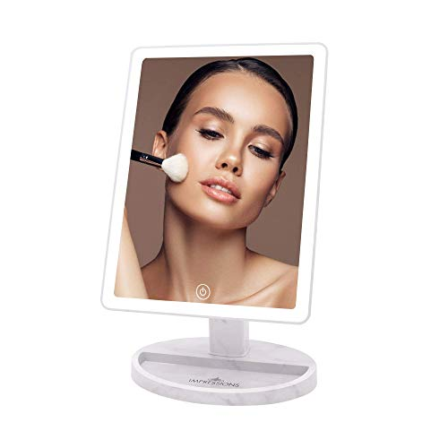 Impressions Touch Ultra Makeup Mirror with Dimmable LED Lights, Vanity Standing Dressing Mirror with Touch Sensor and Double Power System (White Marble)