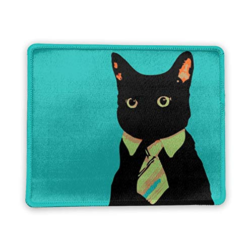 Cat Mouse Pad with Stitched Edges Black Cat in A Tie Design Gaming Mousepad Rectangle Square Non-Slip Rubber Base Mouse Mat for Laptop PC Home Office Men Women Girls Kids Green 8.7x7.1 Inch
