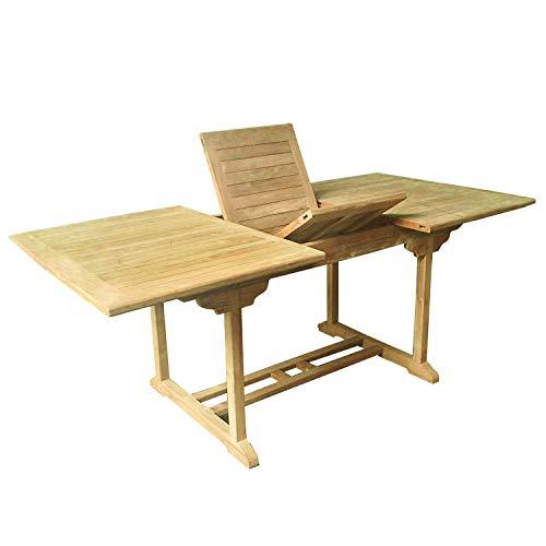FineHome XXXL massivholz Teak Gartentisch Tisch ausziehbar 210/160 x 110 x H75cm aus nachhaltigen Plantagenanbau