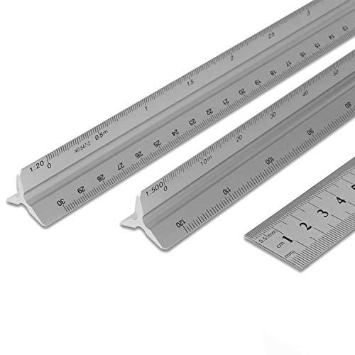 3 PCS Scale Ruler, Dreikantlineal, Maßstab Lineal für Architekten, 30 cm Aluminium Dreieckskala Lineal, 1:20:25:50:75:100:150, 1:100:200:250:300:400:500, Silber (Silber)
