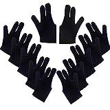 DAZAIGE 10 Pieces Nylon Billiard Gloves Universal Left & Right Hand Open Three Finger Cue Billiard Pool Shooters Gloves One Size for Women & Men Indoor Game Kit Billiard Accessories, Black