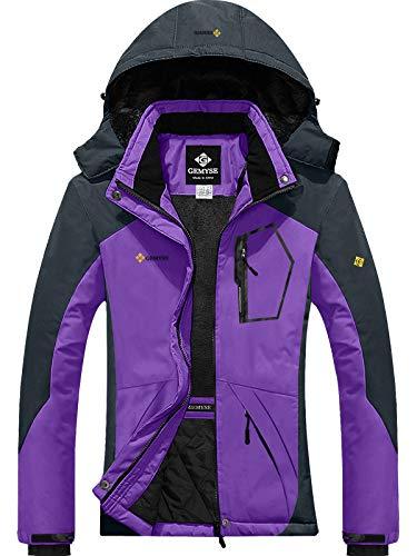 GEMYSE Women's Mountain Waterproof Ski Snow Jacket Winter Windproof Rain Jacket (Purple Grey,Large)