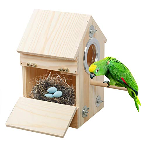 Nido para Pájaros Caja De Cría De Madera, La Casa De Madera Hecha A Mano del Pájaro,Casita Decoración De Jardín, Terraza o Balcón, 16 x 16 x 26 cm