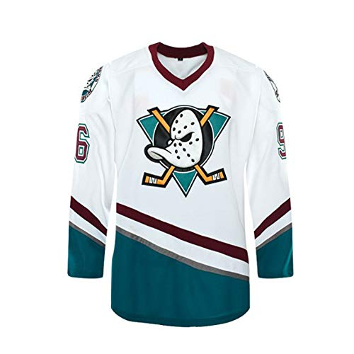 Custom Mighty Ducks Movie Ice Hockey Jersey 90S Hip Hop Clothing for Party Stitched Name Number (White, 4XL)