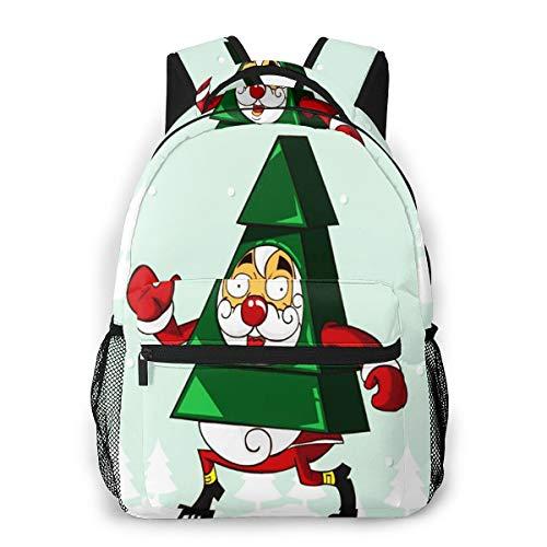 FDFCSD Mochilas Escolares Disfraces de Santa como árbol Mochila Hombre Mujer Casual Mochila para Portatil 14 Pulgadas Mochila Universidad Resistente Mochila Instituto