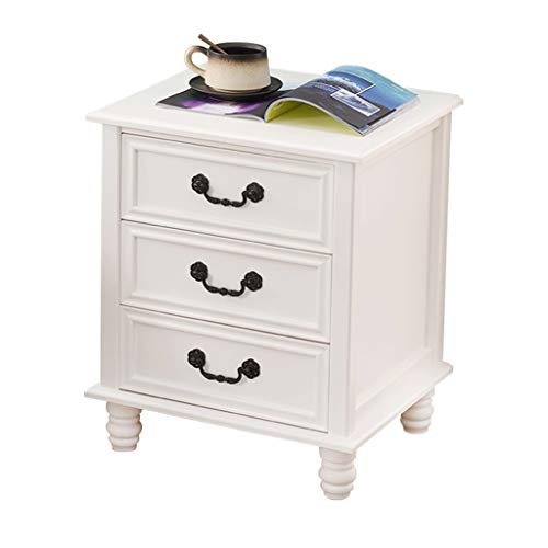 LiPengTaoShop Nightstand Bedside Tables Accent Table Solid Wood Bedside Table Side Table With 3 Drawer Vintage Furniture Tall Nightstand (Color : White, Size : 45 * 38 * 54.5cm)