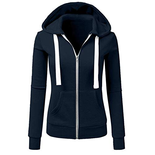VEMOW Herbst Hoodies Damen Plus Size Langarm Casual Daily Sport Outdoors Freizeit Solid Damen Sweatshirt Kapuzenpullover Tops Shirt Winter Frühling(X1-Blau, 42 DE/XL CN)